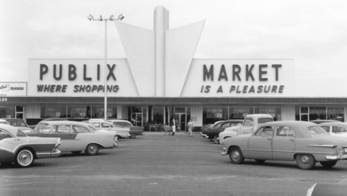 Black and white photo of an old Publix supermarket