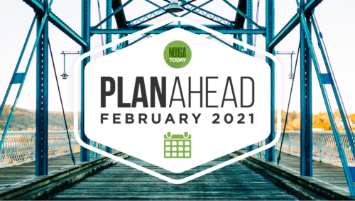 "Graphic with the words ""PlanAhead, February 2021"" on top of a photo of the Walnut Street Bridge"