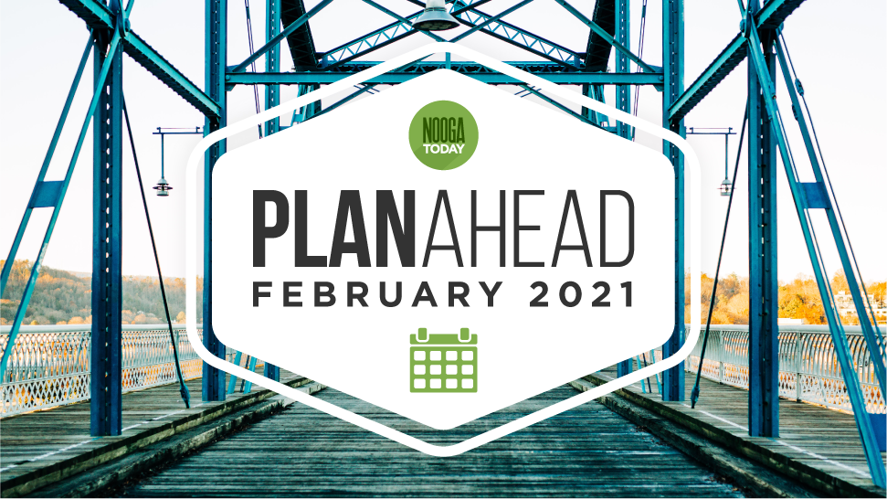"""Graphic with the words """"PlanAhead, February 2021"""" on top of a photo of the Walnut Street Bridge"""