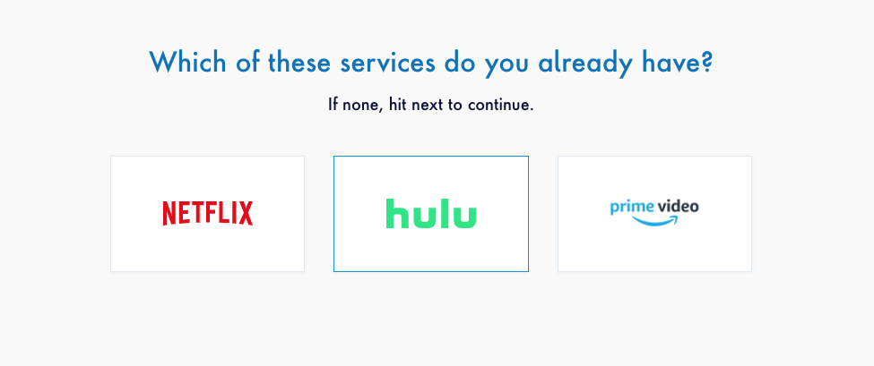 """Screenshot of MyBundle quiz question which reads, """"What streaming services do you have?"""""""