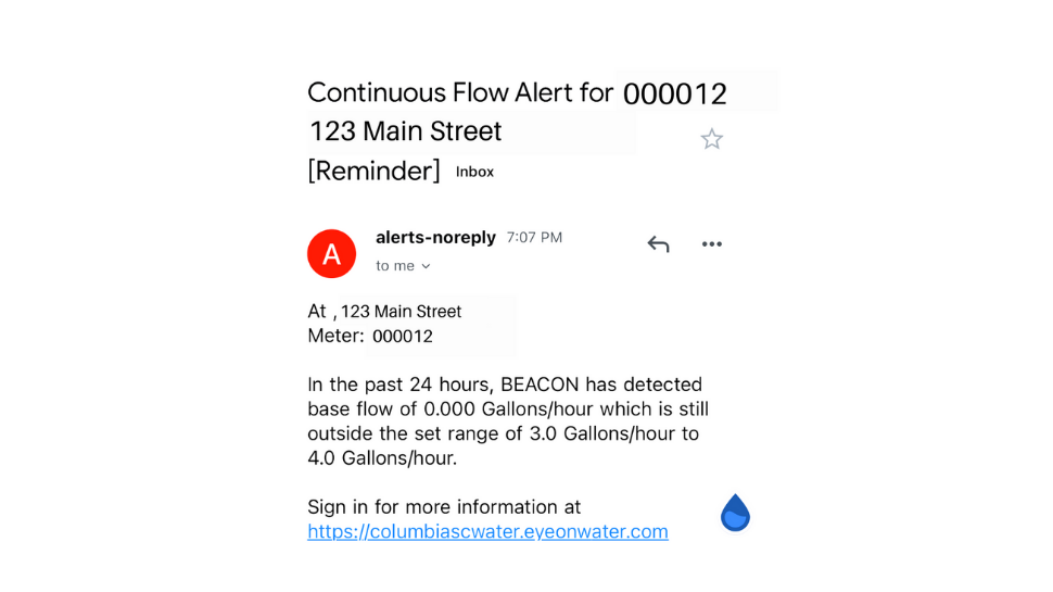 Screenshot of email containing a water leak alert