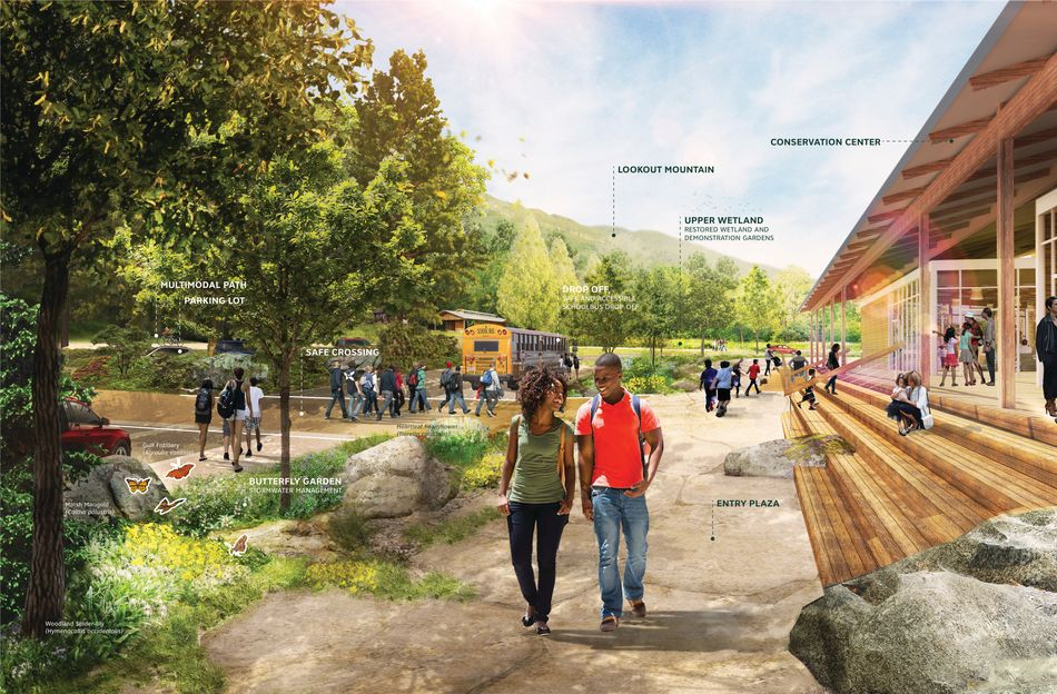 Rendering of a conservation center showing two people walking and several people in the background