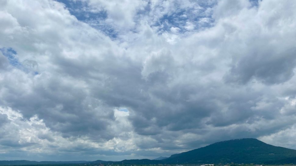 Lookout Mountain under clouds on a summer day