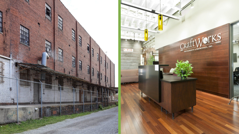 On the left, a photo of an old brick building. On the right, a photo of a new office space with a desk, a conference room, and a bar in the background.