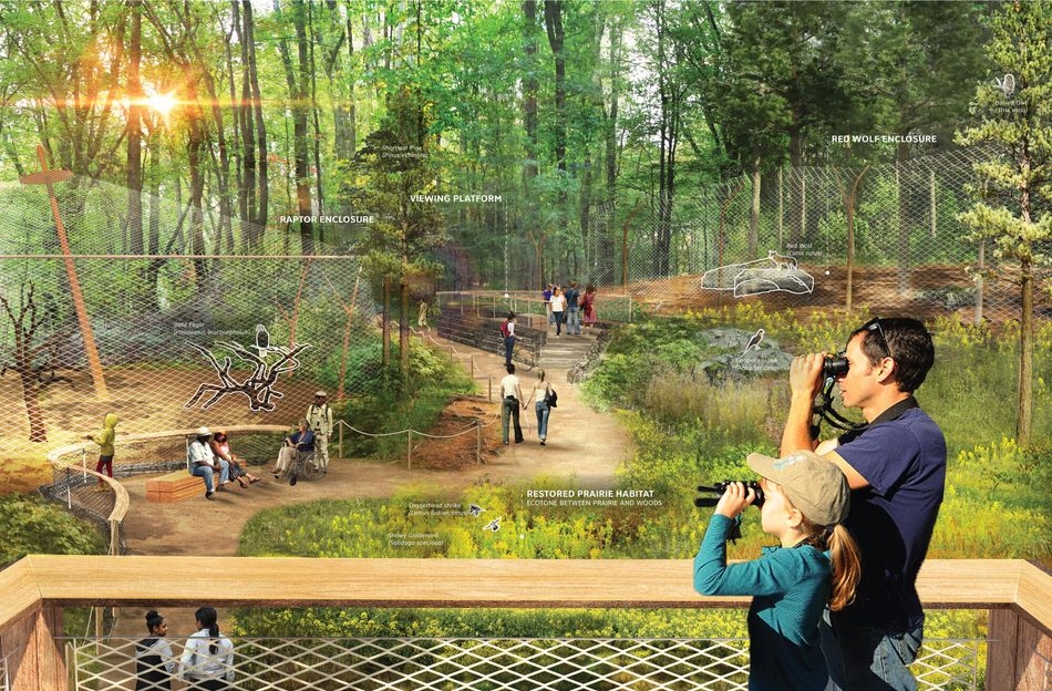 """Rendering of a """"wildlife center"""" that shows two people with binoculars overlooking a raptor enclosure and red wolf enclosure."""