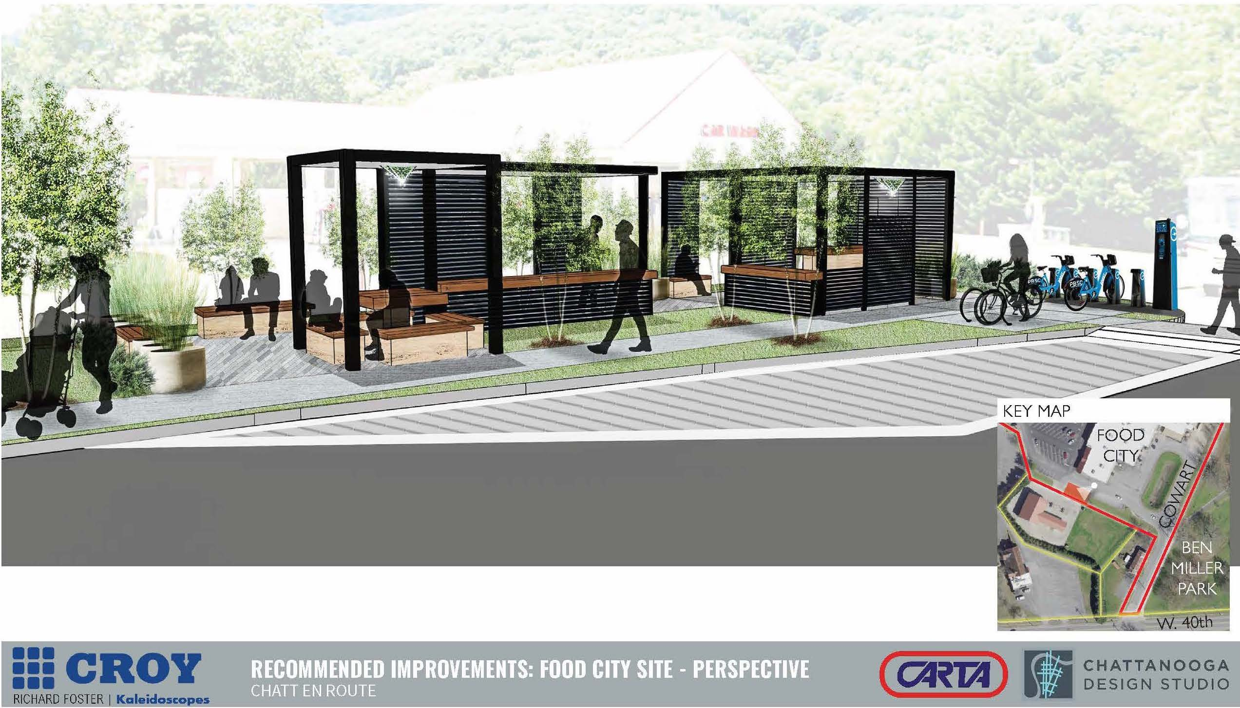 Rendering of a bus stop by Food City showing the stop's wooden seating, vegetation, and boxy design.