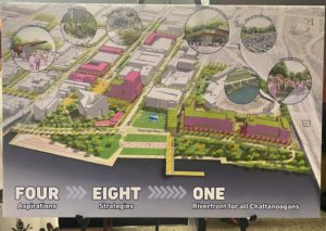 Map rendering of the Chattanooga Riverfront district and master plan