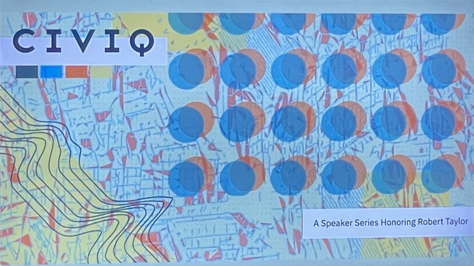 """A graphic featuring a blue background with several orange dots with blue dots overlaying them, places on top of a map, and featuring the word """"CIVIQ."""""""