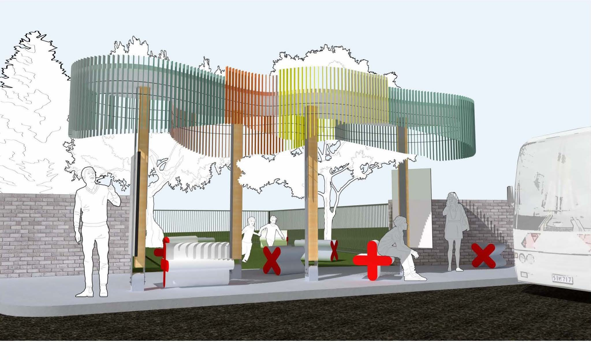 Rendering of the first transit stop design, showcasing stops that feature X and + shaped seats and tree-like sheltering.