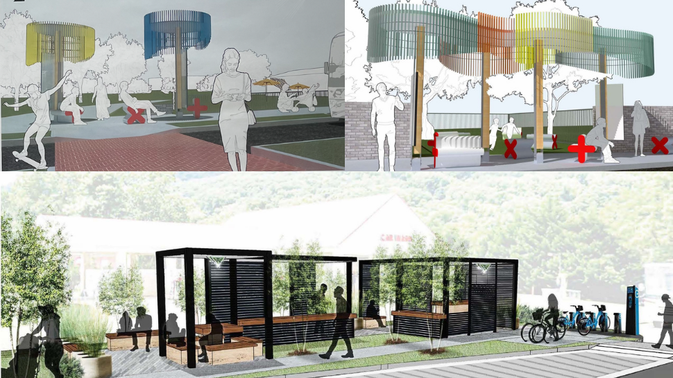 A 3-way image. On the top left, a rendering of the UTC Greenway stop. On the top right, a rendering of the Warner Park stop. Along the bottom, a rendering of the Food City stop.