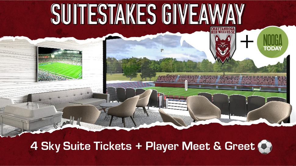 Suitestakes Giveaway graphic for the Chattanooga Red Wolves